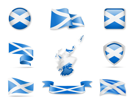 Scotland flags collection. Flags and outline of the country vector illustration set