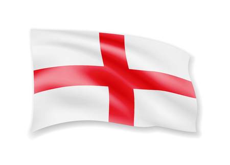 Waving England flag on white. Flag in the wind vector illustration.