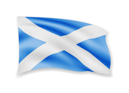 Waving Scotland flag on white. Flag in the wind vector illustration.