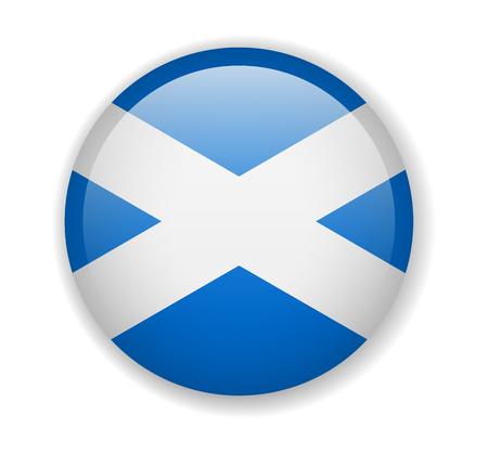Bandera de Escocia redonda brillante icono vector ilustración