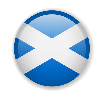 Schottland-Flagge runder heller Symbolvektor Illustration