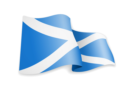 Scotland flag in the wind. Flag on white background vector illustration