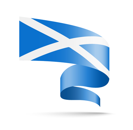 Scotland flag in the form of wave ribbon vector illustration on white background.