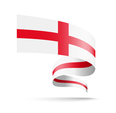 England flag in the form of wave ribbon vector illustration on white background. Illustration