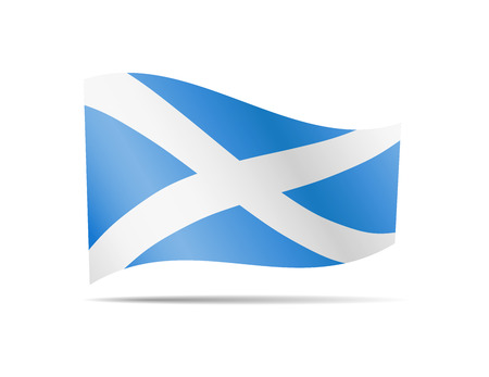 Waving Scotland flag in the wind. Flag on white background vector illustration
