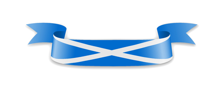 Scotland flag in the form of wave ribbon. Vector illustration.