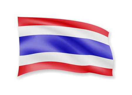 Waving Thailand flag on white. Flag in the wind vector illustration.