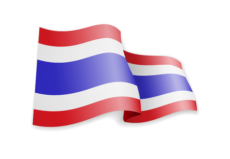 Thailand flag in the wind. Flag on white background vector illustration