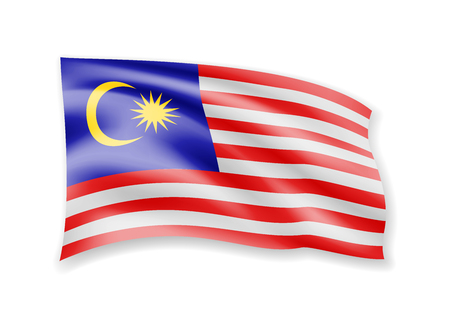 Waving Malaysia flag on white. Flag in the wind vector illustration. Ilustração