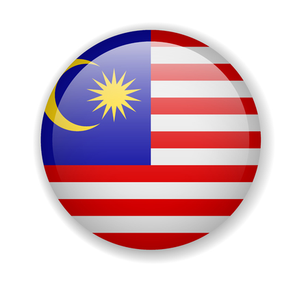 Malaysia flag round bright icon vector Illustration