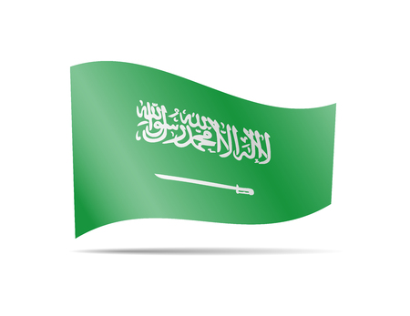 Waving Saudi Arabia flag in the wind. Flag on white background vector illustration
