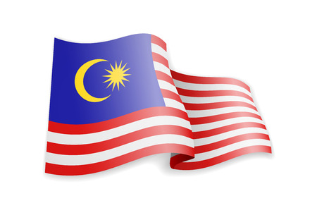 Malaysia flag in the wind. Flag on white background vector illustration  イラスト・ベクター素材