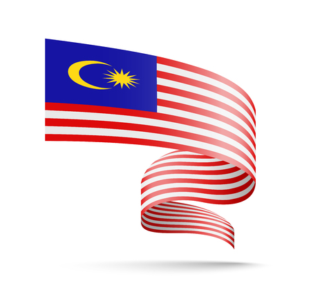 Malaysia flag in the form of wave ribbon vector illustration on white background. Ilustração