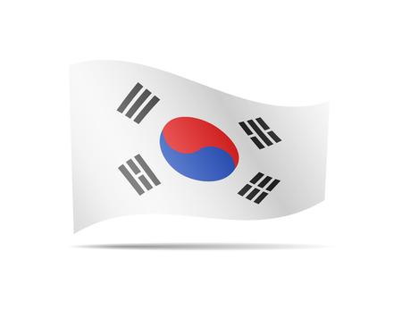 Waving South Korea flag in the wind. Flag on white background vector illustration