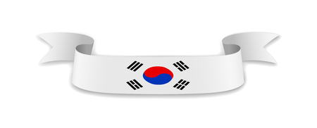 South Korea flag in the form of wave ribbon. Vector illustration.