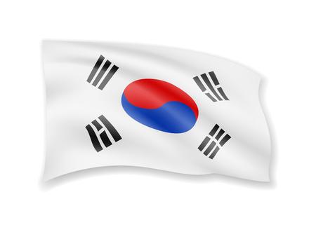 Waving South Korea flag on white. Flag in the wind vector illustration.