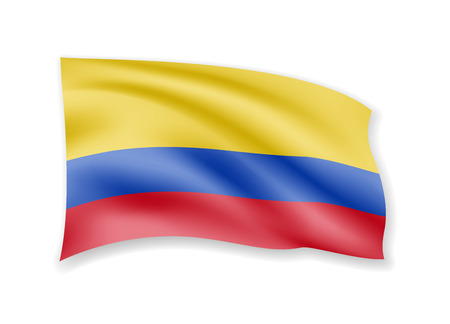 Waving Colombia flag on white. Flag in the wind vector illustration.