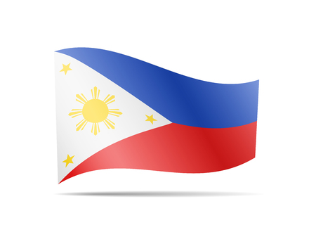 Waving Philippines flag in the wind. Flag on white background vector illustration