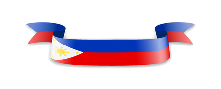 Philippines flag in the form of wave ribbon. Vector illustration.