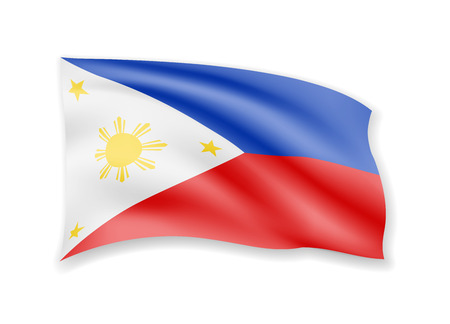 Waving Philippines flag on white. Flag in the wind vector illustration.