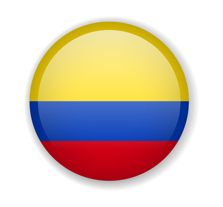 Colombia flag round bright icon vector Illustration