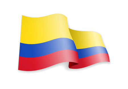 Colombia flag in the wind. Flag on white background vector illustration