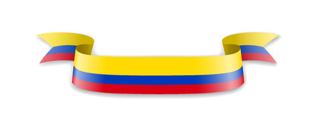 Colombia flag in the form of wave ribbon. Vector illustration.
