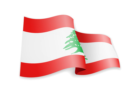Lebanon flag in the wind. Flag on white background vector illustration Vectores
