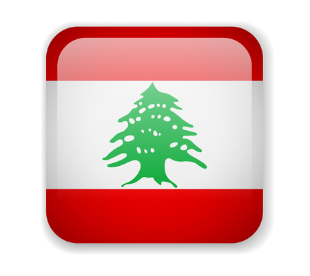 Lebanon flag bright square icon. Vector Illustration