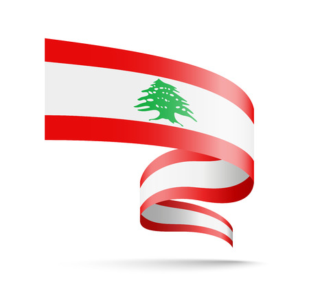 Lebanon flag in the form of wave ribbon vector illustration on white background.