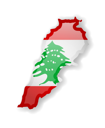 Lebanon flag and outline of the country on a white background. Vector illustration. Ilustrace