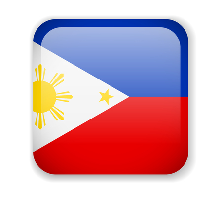 Philippines flag bright square icon. Vector Illustration Ilustrace