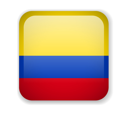 Colombia flag bright square icon. Vector Illustration