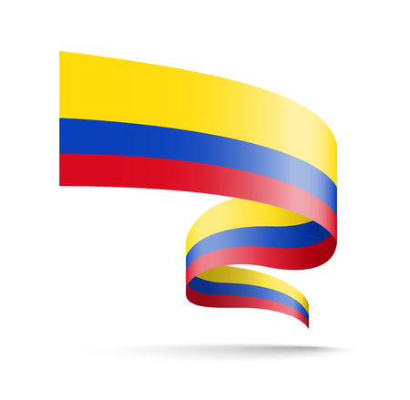 Colombia flag in the form of wave ribbon vector illustration on white background.