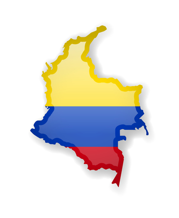 Colombia flag and outline of the country on a white background. Vector illustration.