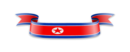 North Korea flag in the form of wave ribbon. Vector illustration. Ilustrace