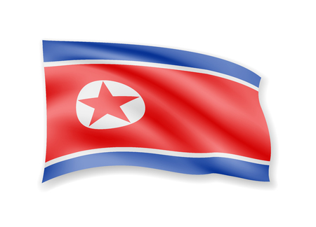 Waving North Korea flag on white. Flag in the wind vector illustration.