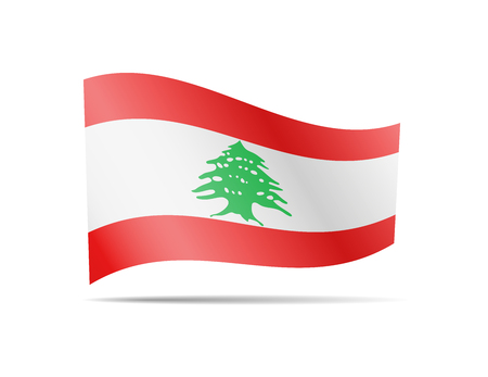 Waving Lebanon flag in the wind. Flag on white background vector illustration