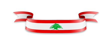 Lebanon flag in the form of wave ribbon. Vector illustration. Ilustrace
