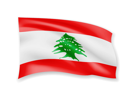 Waving Lebanon flag on white. Flag in the wind vector illustration.