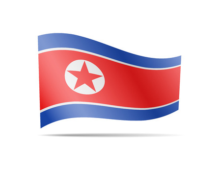 Waving North Korea flag in the wind. Flag on white background vector illustration