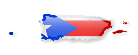 Puerto Rico flag and outline of the country on a white background. Vector illustration.