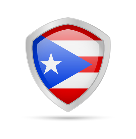 Shield with Puerto Rico flag on white background. Vector illustration.