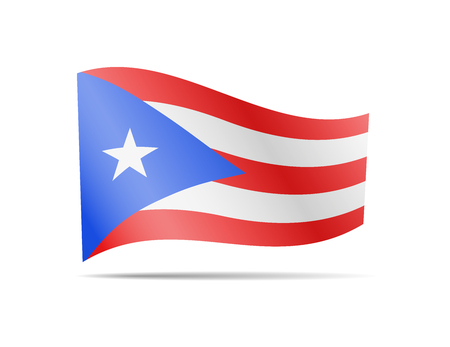 Waving Puerto Rico flag in the wind. Flag on white background vector illustration Vectores