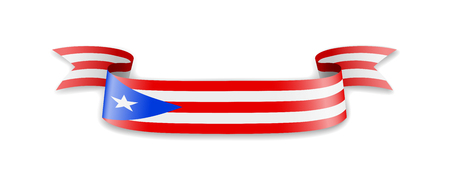 Puerto Rico flag in the form of wave ribbon. Vector illustration.