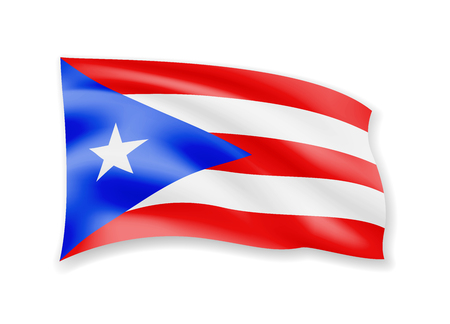 Waving Puerto Rico flag on white. Flag in the wind vector illustration.  イラスト・ベクター素材