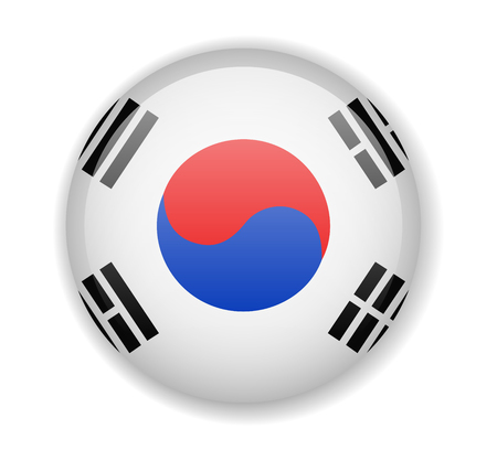 South Korea flag round bright icon vector Illustration Ilustrace