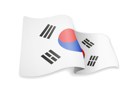 South Korea flag in the wind. Flag on white background vector illustration