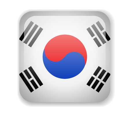 South Korea flag bright square icon. Vector Illustration