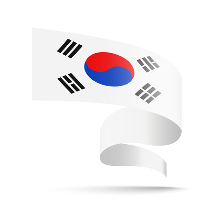 South Korea flag in the form of wave ribbon vector illustration on white background.